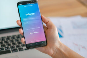 mobile application for Instagram on the screen